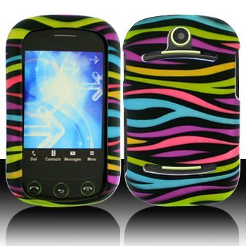 Black with Rainbow Color Zebra Rubberized Snap on Hard Skin Shell Cover Case for Pantech Pursuit II / P6010