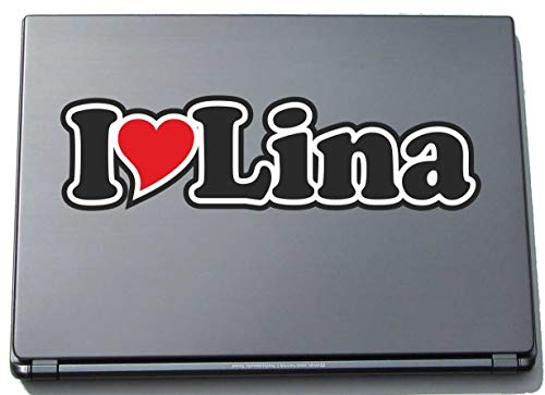 INDIGOS UG - I Love Heart Decal Sticker Laptopskin 210 mm - Name Laptop Netbook Computer - Sticker with Name of Man Woman Child - I Love Lina from INDIGOS UG