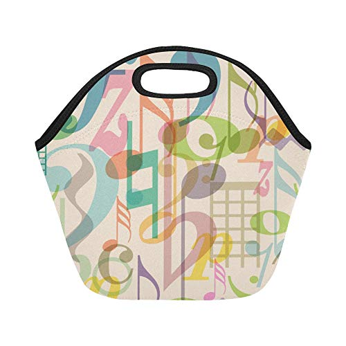 Insulated Neoprene Lunch Bag Musical Note Music Icon Mix And Match Design Vintage Hand Drawn Large Size Reusable Thermal Thick Lunch Tote Bags For Lunch Boxes For Outdoors,work, Office, School ()