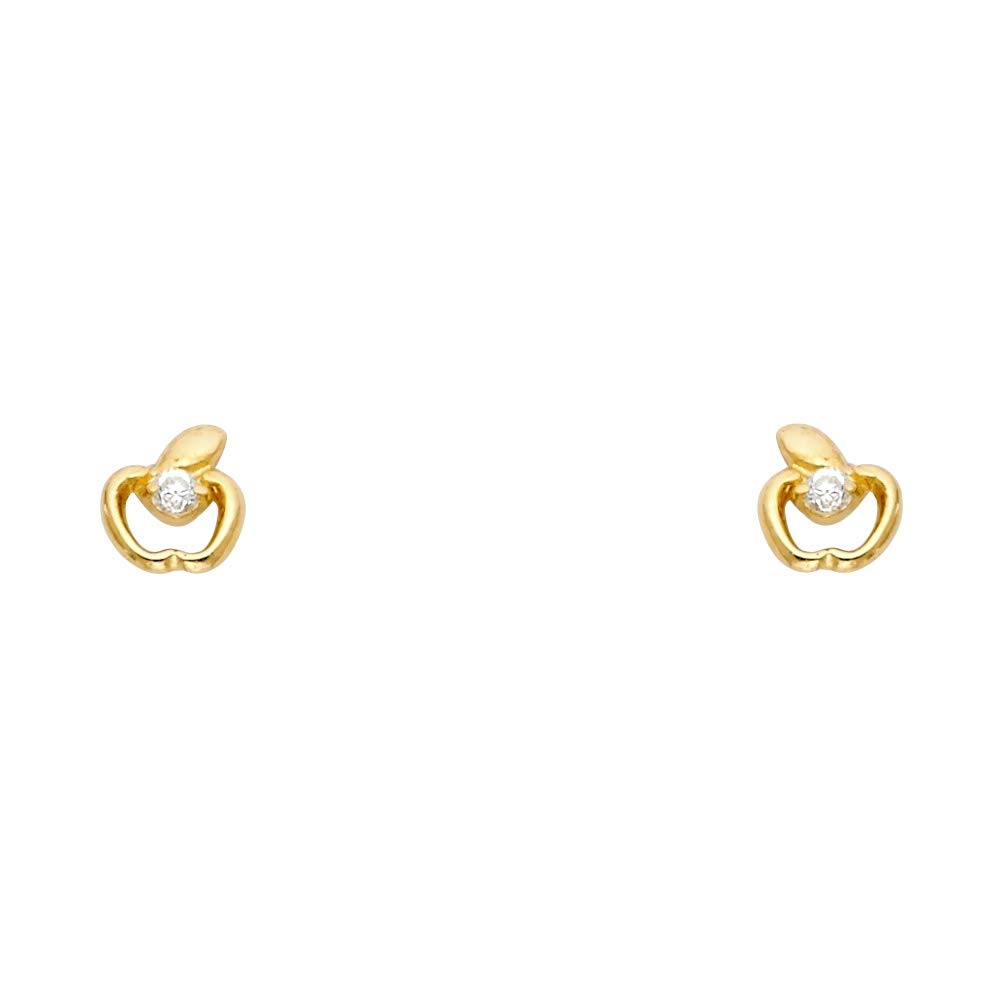 Wellingsale 14K Yellow Gold Polished Apple Stud Earrings With Screw Back