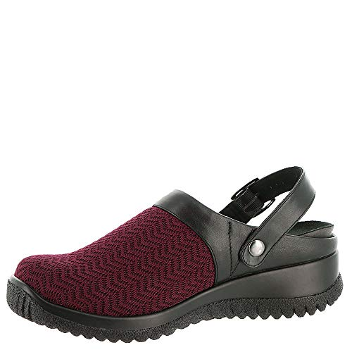 13 mules Women's Drew and Stretch Black Wavy Stretch WIDE Savannah Black clogs Burgundy X 8xq460