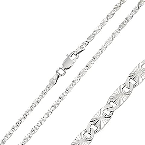 2.4mm Sterling Silver Italian Necklace Rhodium Plated DC Oval Flat Confetti Link Chain (16, 18, 20 Inch), (Cadena De Plata Para Hombre)