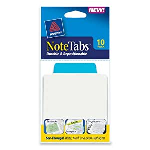 Avery NoteTabs, 3 x 3.5 Inches, Neon Blue, 10 per pack (16327)
