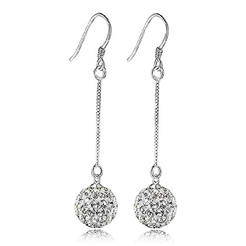 Injoy Jewelry Charming Silver Plated Crystal Ball Long Chain Dangle Drop Earrings for Womens Girls