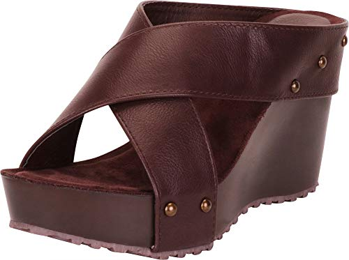 (Cambridge Select Women's Open Toe Crisscross Chunky Platform Wedge Slide Sandal,8 B(M) US,Chocolate PU)
