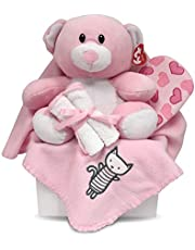 Newborn Baby Girl Gift Basket with Fleece Blanket, TY Plush Teddy Bear, 3 Washcloths and Bathtime Accessory - Expecting Moms, Parent, Infants, Toddlers - by Pellatt Cornucopia