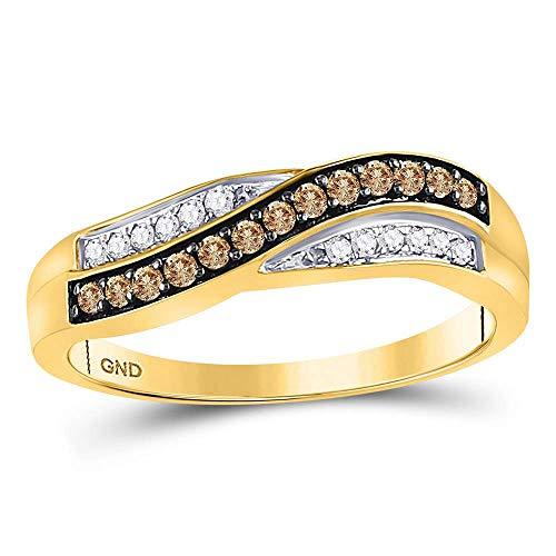 - 10kt Yellow Gold Womens Round Cognac-brown Color Enhanced Diamond Band Ring 1/4 Cttw