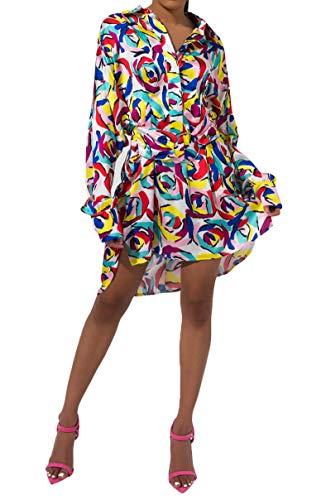 AKIRA Women's Abstract Rose Print Collared Button Down Long Sleeve Mini Shirt Dress-Multi_M Abstract Print Mini Dress