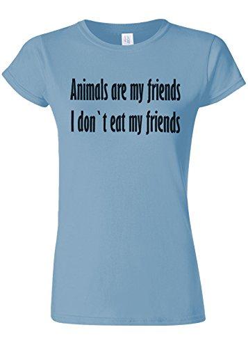 アンソロジー作り単位Animals Are My Friends Funny Novelty Light Blue Women T Shirt Top-S
