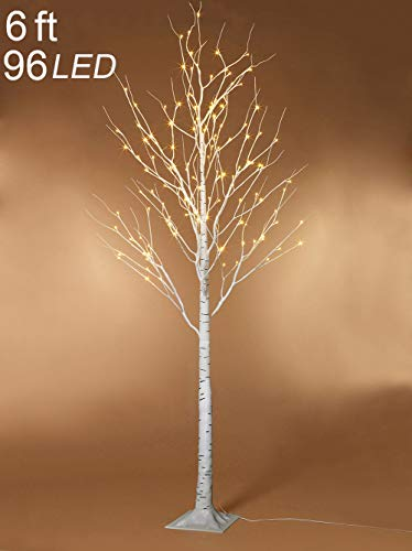 (Twinkle Star Lighted Birch Tree 6 Feet 96 LED for Home Wedding Festival Party Christmas Decoration)