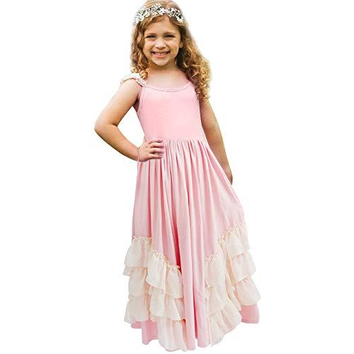 a398bd4b58 Girls Ruffles Wedding Party Rustic Dress Flower Girl Vintage Boho Beach  Twirling Dress Maxi Robe Pink