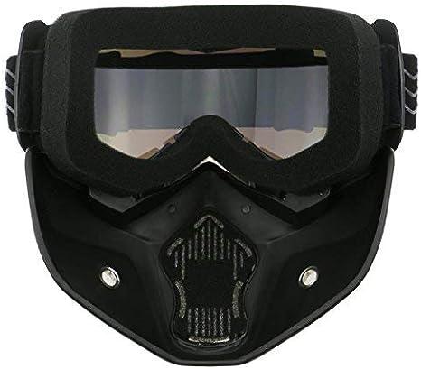 HONCENMAX Motociclo Occhiali Bicchieri con Maschera Facciale Staccabile Stile Harley Casco Fog-Proof A Prova di Vento Equitazione Occhiali da Sole Regalo