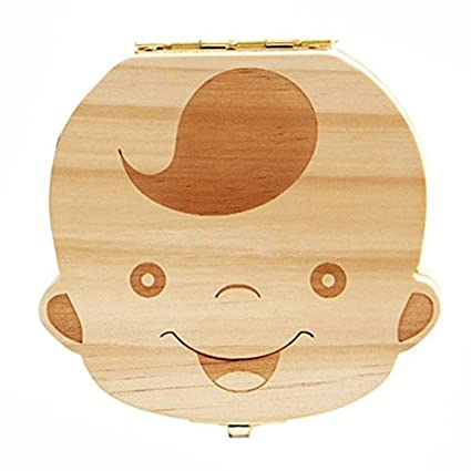 1X Lovely Baby Teeth Save Box Organizer Tooth Collection Souvenir Case Wooden Handmade Keepsake Durable 12 * 11.5 * 3 cm (Boy's) Txyk