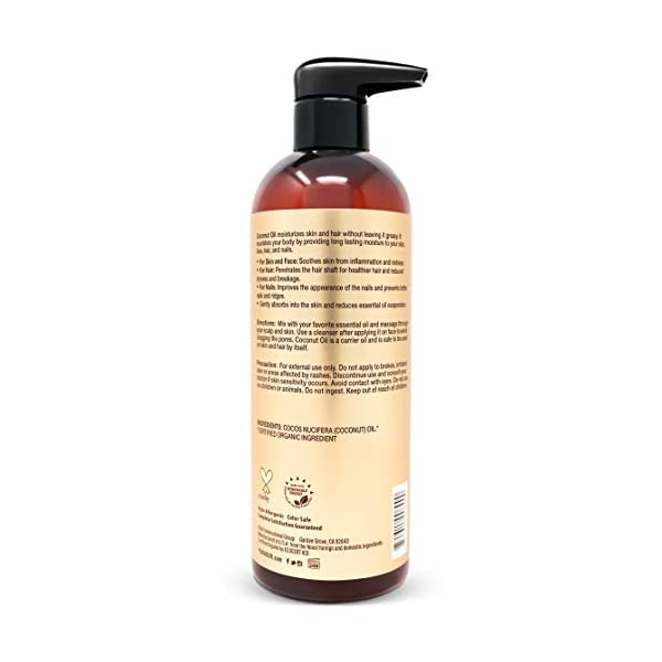 Organic Fractionated Coconut Oil  100% Pure & Natural Moisturizing
