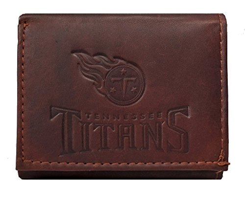 Tennessee Titans NFL Embossed Logo Dark Brown Leather Trifold Wallet