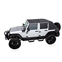 Rampage Products 139935 TrailView Fold-Back Soft Top, for 2007-2018 Jeep Wrangler JK 2-Door, Black Diamond Sailcloth w/Tinted Windows