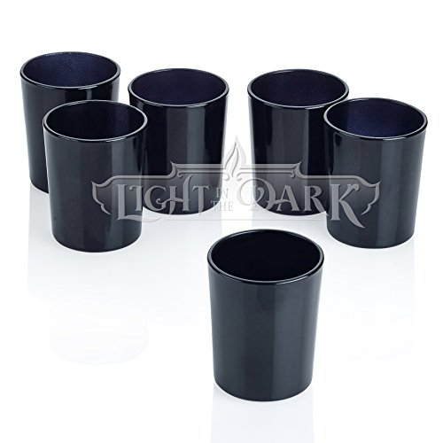 Black Glass Round Votive Candle Holders Set of 12 (Glass Black Candle)