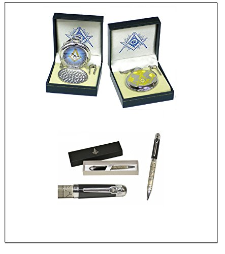 (SET) Masonic Pocket Watch- Chrome Finish& Masonic Engraved Ballpoint Pen (Free Masonic Key Chain included)