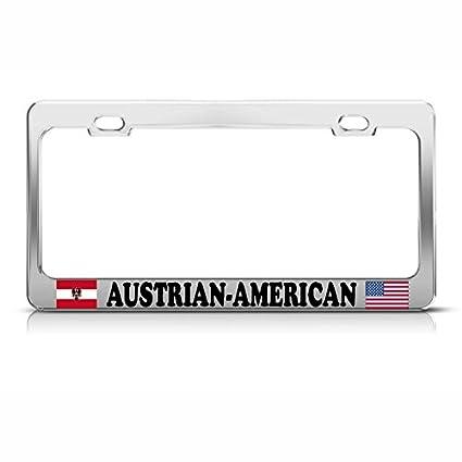 AUSTRALIAN AMERICAN FLAG METAL CAR LICENSE PLATE