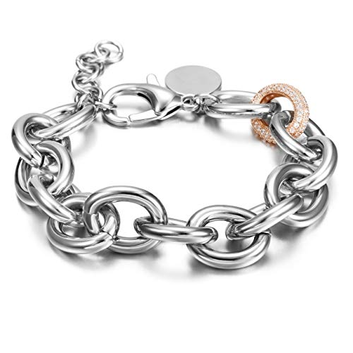 CIUNOFOR CZ Bracelet for Women Girls Wide Cuban Curb Link Bracelet Italian Style Oval Bracelet Silver Rose Gold Plated Adjustable Stainless Steel Chain with Round Disc Charm (White and Rose Gold)