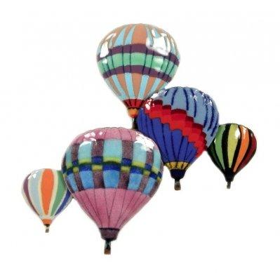 Bovano Hot Air Balloon in Flight Enamel Glass Copper Metal Wall -