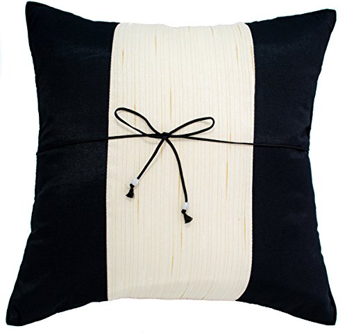 Avarada 16x16 Inch (40x40 cm) Striped Crepe Decorative Throw Pillow Case Cushion Cover for Sofa Couch Chair Bed Insert Not Included Zipper Black White Ivory (Throw Black And Ivory Pillows)