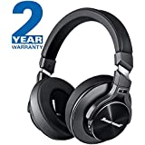 Active Noise Cancelling Headphones Hiearcool L2 Bluetooth Headphones with Microphone Hi-Fi Stereo Bass Wireless Headphones Over Ear,Airplane Adapter & Carrying Case for All 3.5 mm Jack Devices - Black
