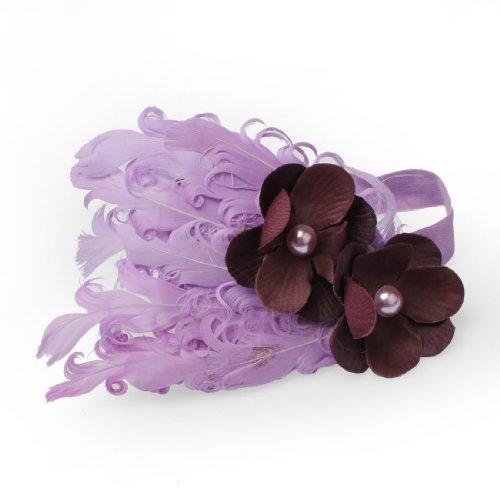 Lovely Ovely Unusal Cotton Baby Girls Infant Bow Peacock Headband Hairband Feather Flower Hair Band,Light Purple