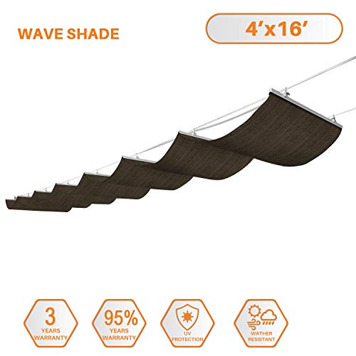 (TANG Sunshades Depot Retractable Slide on Wire Canopy Awning Roofing Replacement for Pergola Gazebo Trellis Terrace for Deck Patio Restaurant Cafe' Porch Brown 4'X16' )