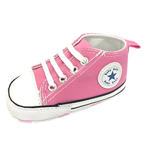 M2cbridge Baby Girl Boy Canvas Sneakers Toddler Anti-Slip First Walkers (6-12 Months, Pink)