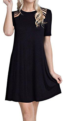 Cambridge Select Juniors Cutout Shoulder Detail Short Sleeved Swing Dress (Medium, Black)