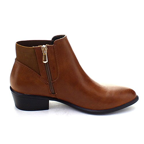 Dbdk Catorce-1 Mujer Cremallera Lateral Elástica Almond Toe Stacked Chunky Botines De Tacón Camel