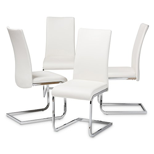 Baxton Studio Cyprien Modern And Contemporary White Faux Leather Upholstered