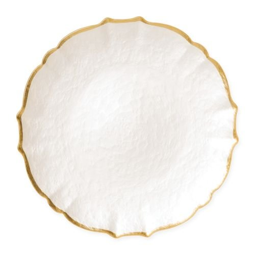 - Vietri Baroque Glass White Service Plate/Charger - Premium Quality Gold Rimmed Tableware
