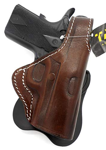 TAGUA Premium Deluxe Right Hand Rotating Paddle and Belt Holster with Reinforced Thumb Break in Dark Brown Leather for 3