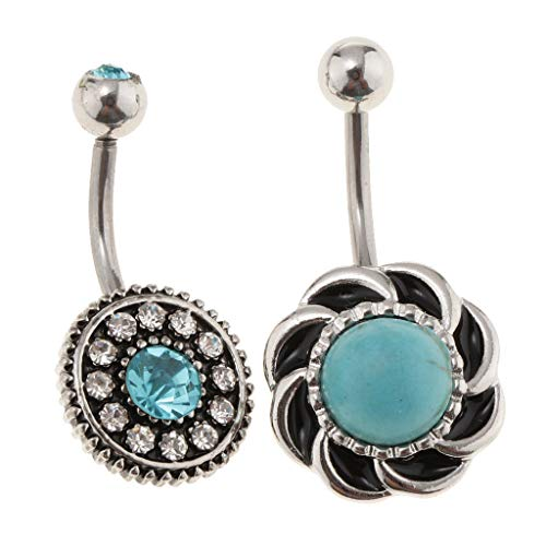 Barbell Replacement Bioplast (3Pcs Stainless Steel Turquoise Belly Button Rings Screw Navel Body Jewelry)