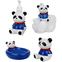 FunBlast (Set of 4) Bathroom Accessories for Kids Includes Soap Holder, Bathing Ball, Toothbrush Holder and Lotion Dispenser (Panda)
