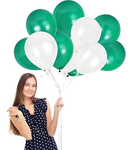 Treasures Gifted Pack of 100 White Green Shamrock Balloons with Ribbons St Patrick Birthday Graduation Decorations Christmas Kid Party Supplies St Patty Day Photo Booth Backdrop