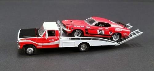 NEW 1:64 ACME COLLECTION - Allan Moffat Racing 1968 Ford F-350 Ramp Truck & 1969 Ford Mustang Boss 302 Trans Am #9 Coca Cola Set of 2pcs Diecast Model Car By ACME - 1969 Ford Mustang Boss 302