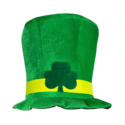 DELIFUR St. Patrick's Day Hat with Shamrock Green Leprechaun Top Hat Irish Festivals Costume for Men and Women
