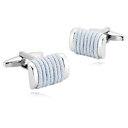 Epinki Mens Stainless Steel Light Blue Stripe Rectangle Loop Shirt Cufflinks for Wedding - Bulgari Sydney