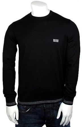 bb2b0da1 BOSS HUGO JUMPER BLACK RIME KNITWEAR UK SIZE SMALL: Amazon.co.uk: Clothing