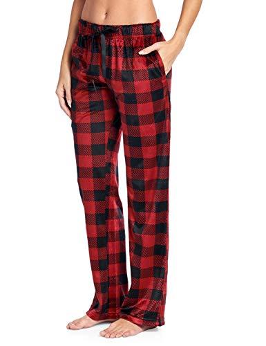 Pj Set Check (Ashford & Brooks Women's Plush Mink Fleece Pajama Sleep Pants - Red Buffalo Check - 4X-Large)