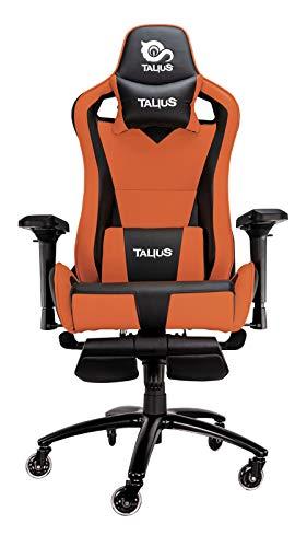 Talius Caiman Silla Gaming Profesional Negra/Naranja, con reposapies Extraible, Inclinacion y Altura Regulable, reposabrazos 4D Ajustab