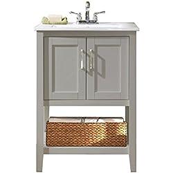 "Legion Furniture WLF6020-G-BS 24"" Single Sink Bathroom Vanity with Basket and Ceramic Sink Top, Gray Finish"