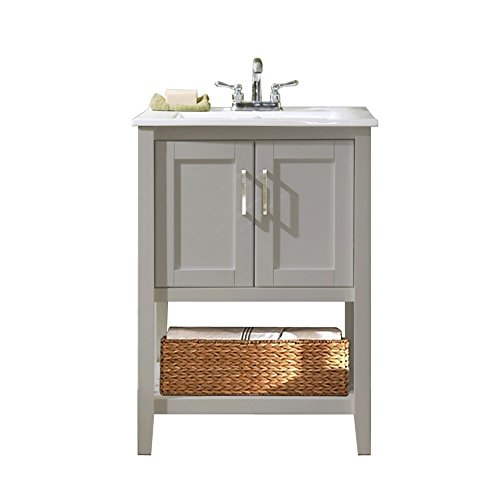 Legion Furniture WLF6020-G-BS 24'' Single Sink Bathroom Vanity with Basket and Ceramic Sink Top, Gray Finish by Legion Furniture