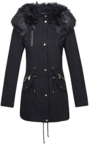Bellivera Women's Parka Faux Fur Collar Twill Jacket, Warm Women Winter Coats with Hooded