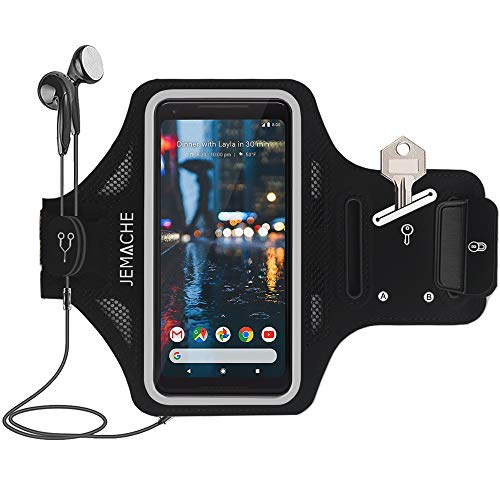 Pixel 3a/3/2/1 Armband, JEMACHE Thin Water Resistant Gym Running Workouts Arm Band for Google Pixel 3a / 3/2 / 1 with Key/Card Holder