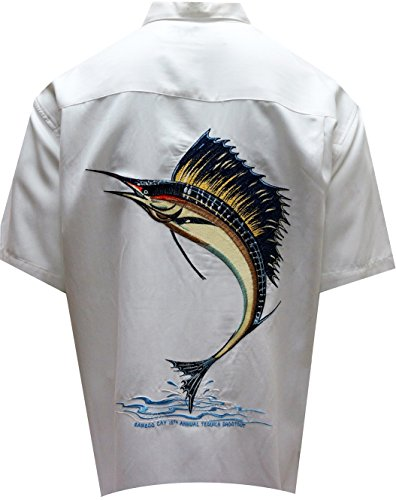 Bamboo Cay Men's Sailfish Freedom, Tropical Style Back Embroidered Hawaiian Shirt (3XL, Off White) by Bamboo Cay (Image #2)