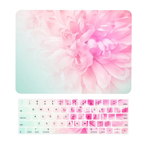 TOP CASE - 2 in 1 Floral Pattern Matte Hard Case + Keyboard Cover Compatible WIth MacBook Pro 15(15Diagonally) with Touch Bar Model A1707,1990(Release 2016,2017,2018)- Pink Peony on Turquoise Base